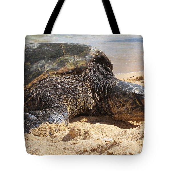 Tote Bag featuring the photograph Green Sea Turtle 2 - Kauai by Shane Kelly