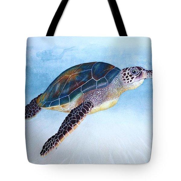 Green Sea Turtle II Tote Bag by Jeff Lucas