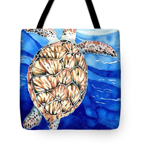 Green Sea Turtle Surfacing Tote Bag