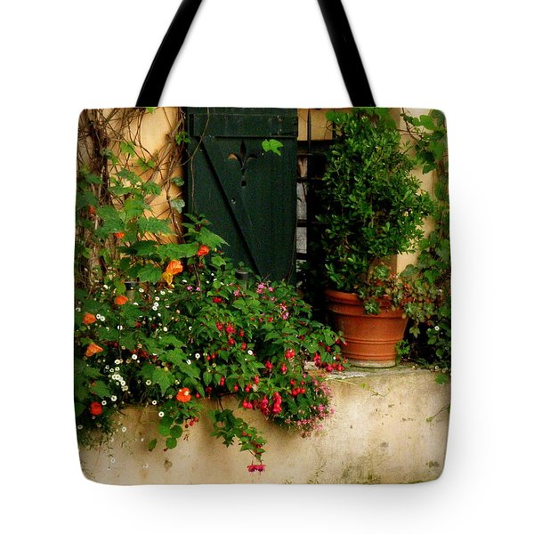 Green Shuttered Window Tote Bag by Lainie Wrightson