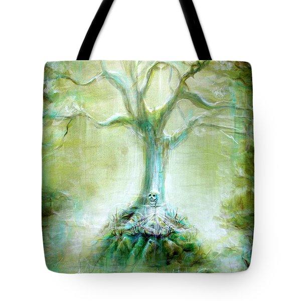 Green Skeleton Meditation Tote Bag