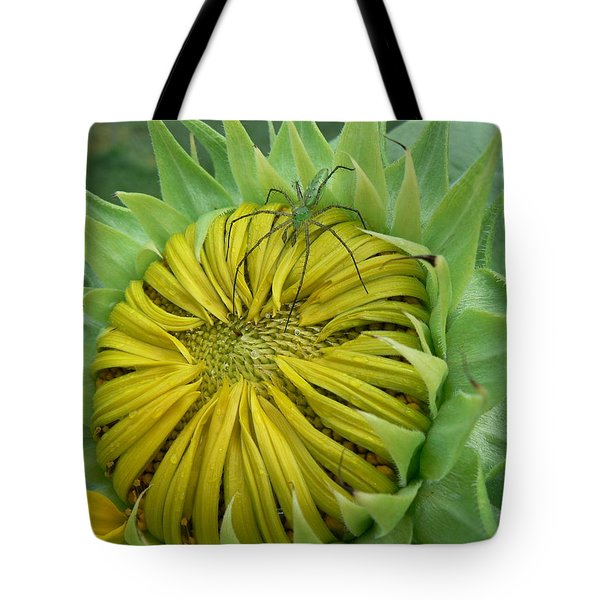 Green Spider On A Sunflower Tote Bag by MM Anderson