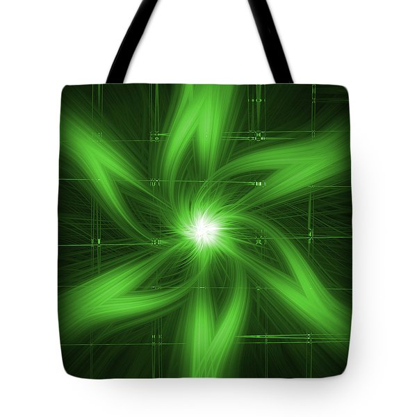 Tote Bag featuring the digital art Green Swirl by Maggy Marsh