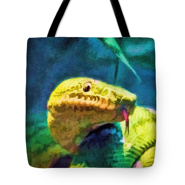 Tote Bag featuring the painting Green Tree Snake With Tongue by Tracie Kaska