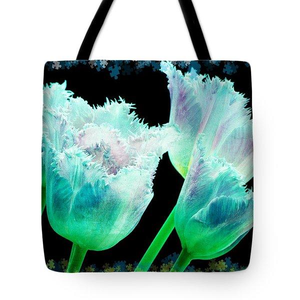 Green Tulip Glow Tote Bag by Debra  Miller