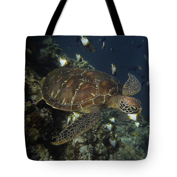 Tote Bag featuring the photograph Hawksbill Turtle by Sergey Lukashin