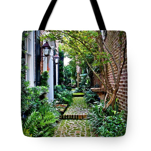 Green Walkway Tote Bag by Jean Haynes