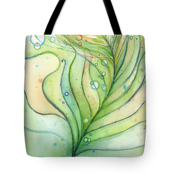 Green Watercolor Bubbles Tote Bag