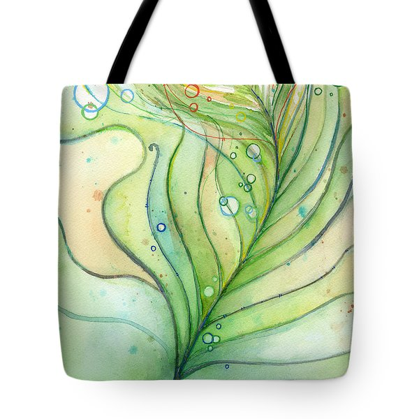 Green Watercolor Bubbles Tote Bag