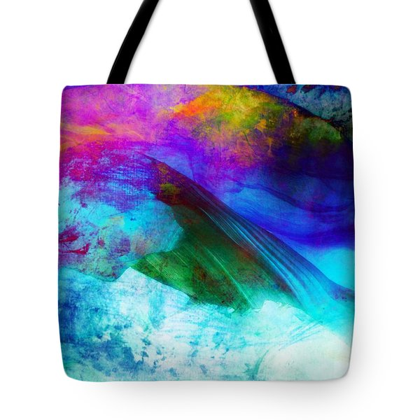 Tote Bag featuring the painting Green Wave - Vibrant Artwork by Lilia D