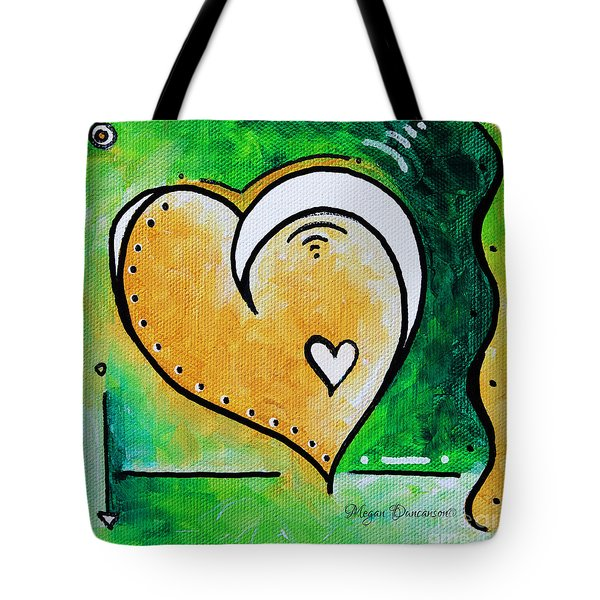 Green Yellow Heart Love Painting Pop Art Peace By Megan Duncanson Tote Bag by Megan Duncanson