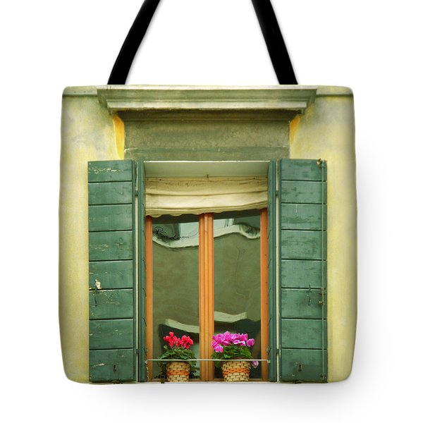 Green Yellow Venice Series Shutters Tote Bag