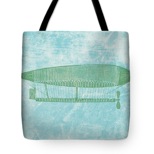 Green Zeppelin - Retro Air Ship Tote Bag