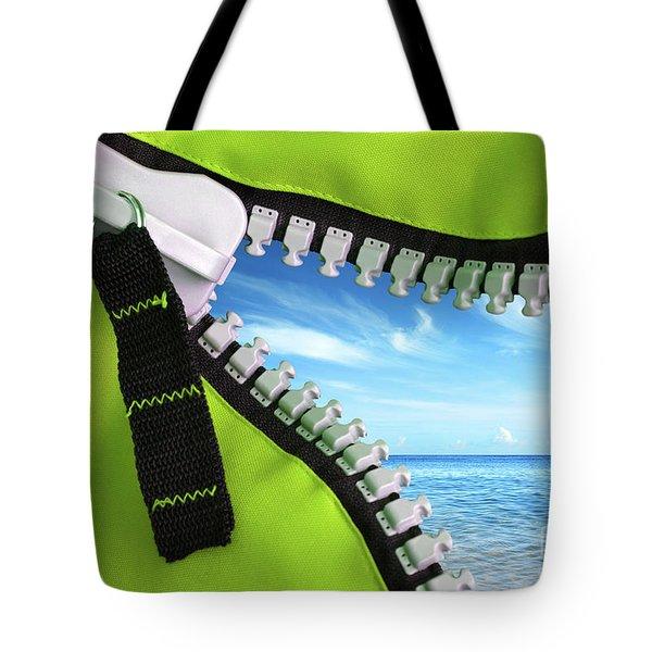 Green Zipper Tote Bag