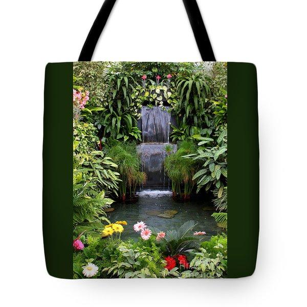 Greenhouse Garden Waterfall Tote Bag by Carol Groenen