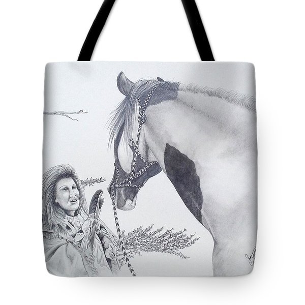 Greeting At The Monument Tote Bag