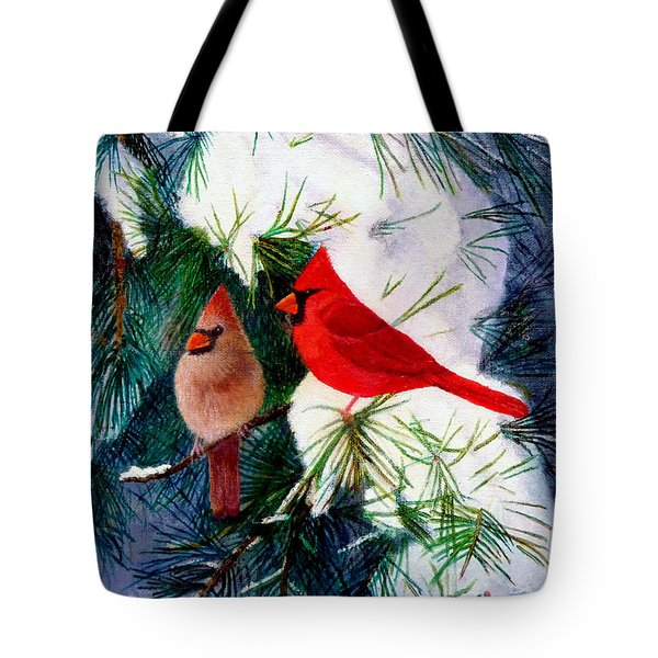 Greeting Cardinals Tote Bag