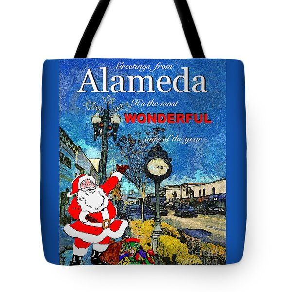 Tote Bag featuring the photograph Alameda Christmas Greeting by Linda Weinstock