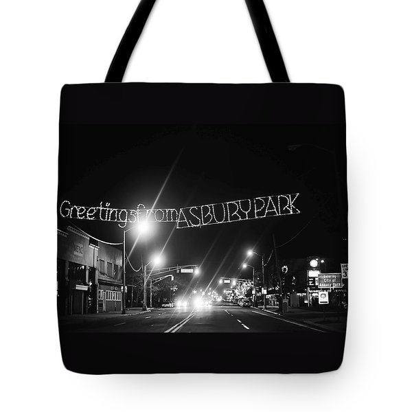 Greetings From Asbury Park New Jersey Black And White Tote Bag