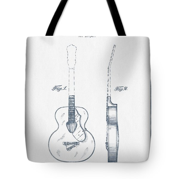 Gretsch Guitar Patent Drawing From 1941 - Blue Ink Tote Bag by Aged Pixel