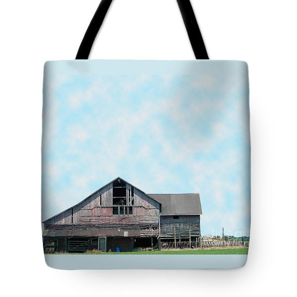 Tote Bag featuring the photograph Grey Barn by Gena Weiser