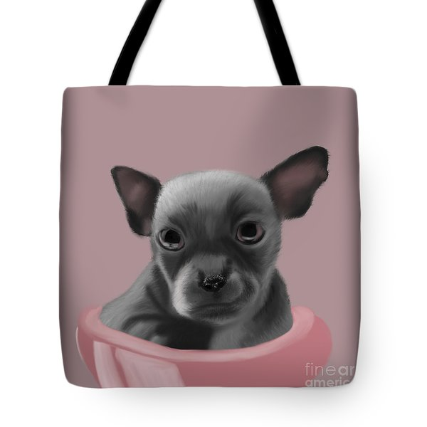 Grey Chihuahua In The Pink Tote Bag