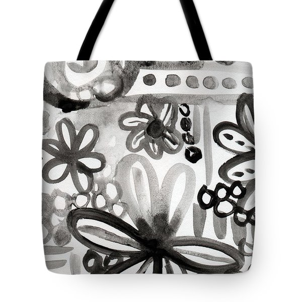 Grey Garden- Abstract Floral Painting Tote Bag