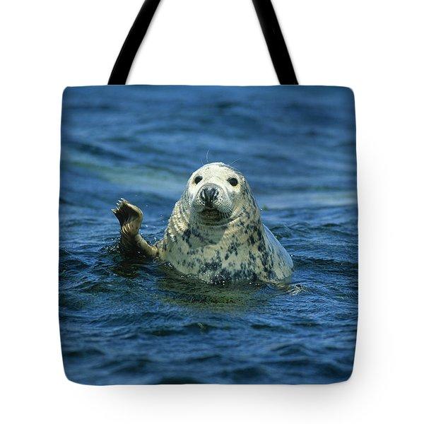 Grey Seal Waving Tote Bag by Martin Woike