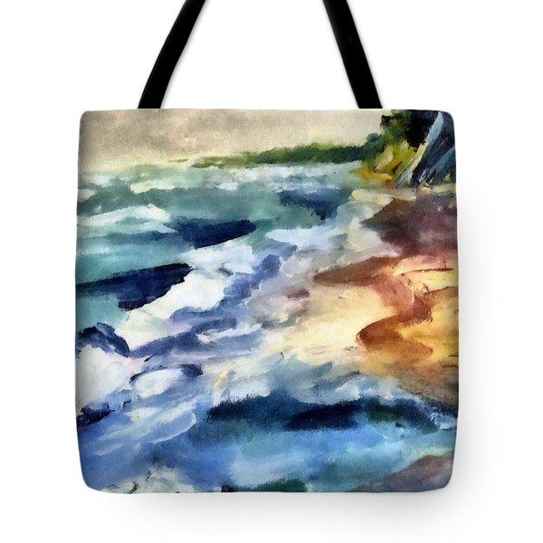 Grey Sky Day On The Lake Tote Bag