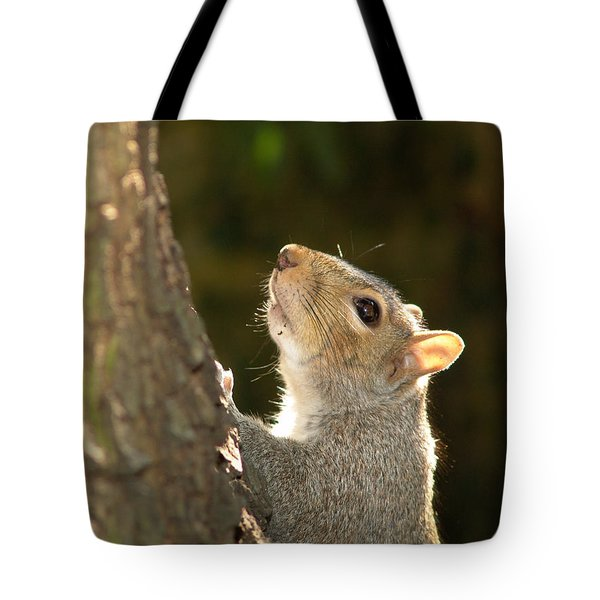 Tote Bag featuring the digital art Grey Squirrel by Ron Harpham