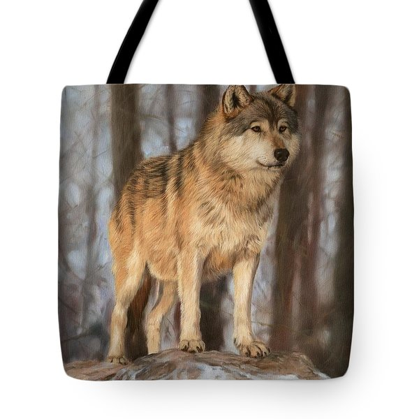 Grey Wolf Tote Bag by David Stribbling