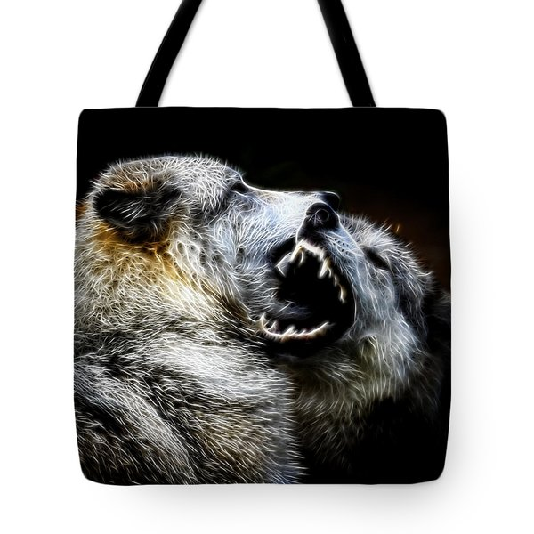 Grey Wolf Fight Tote Bag by Steve McKinzie