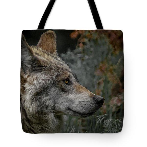 Grey Wolf Profile 3 Tote Bag by Ernie Echols