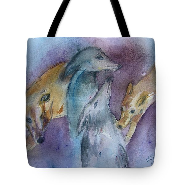 Greyhounds Having A Meeting Tote Bag