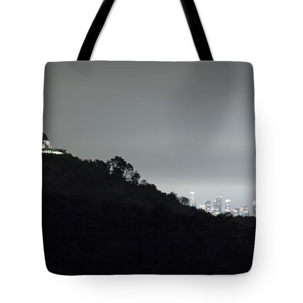 Griffith Park Observatory And Los Angeles Skyline At Night Tote Bag