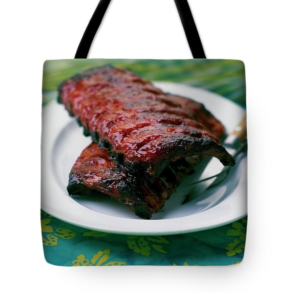 Grilled Ribs On A White Plate Tote Bag