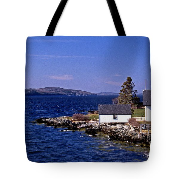 Grindel Point Lighthouse Tote Bag by Skip Willits