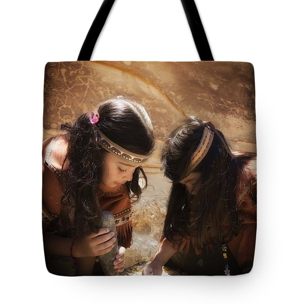 Grinding Corn Tote Bag by Betty Depee