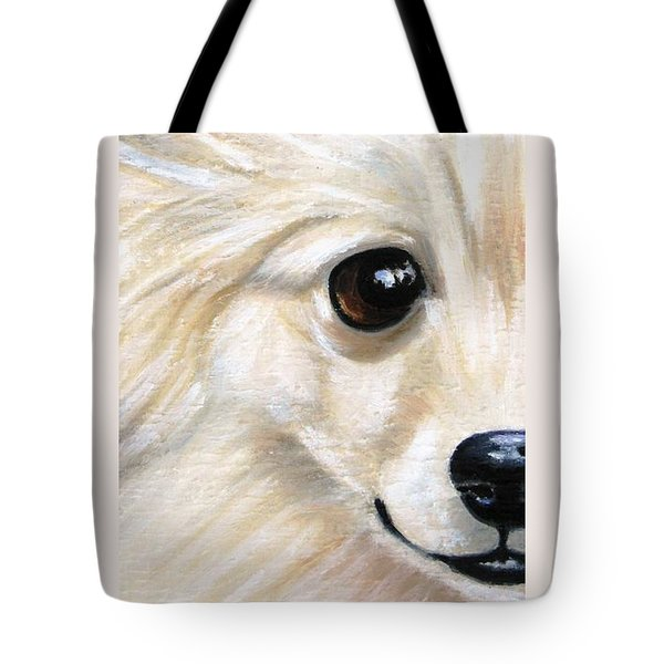 Grinning Pom Tote Bag by Debbie Finley