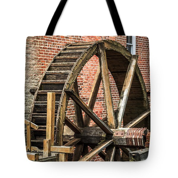 Grist Mill Water Wheel In Hobart Indiana Tote Bag by Paul Velgos