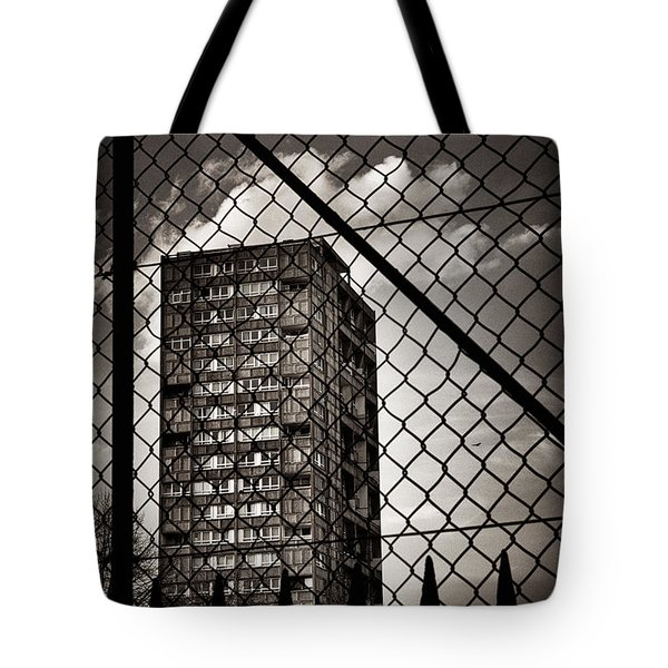Gritty London Tower Block And Fence - East End London Tote Bag