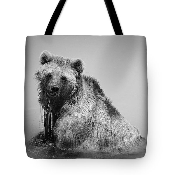 Grizzly Bear Bath Time Tote Bag by Karen Shackles