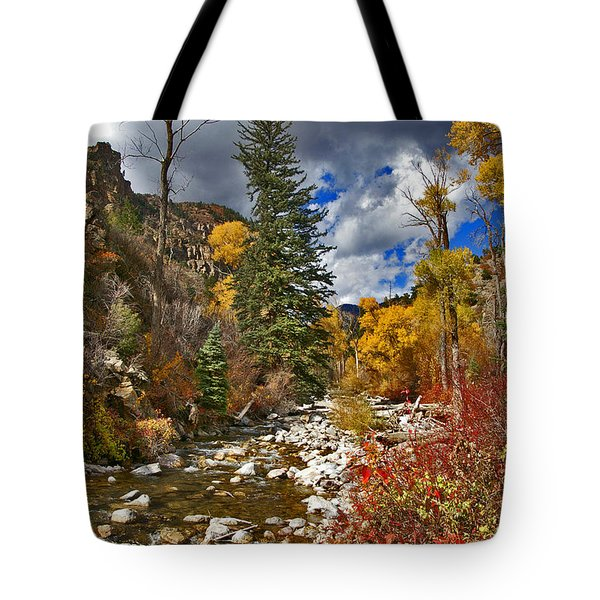 Tote Bag featuring the photograph Grizzly Creek Vertical by Jeremy Rhoades