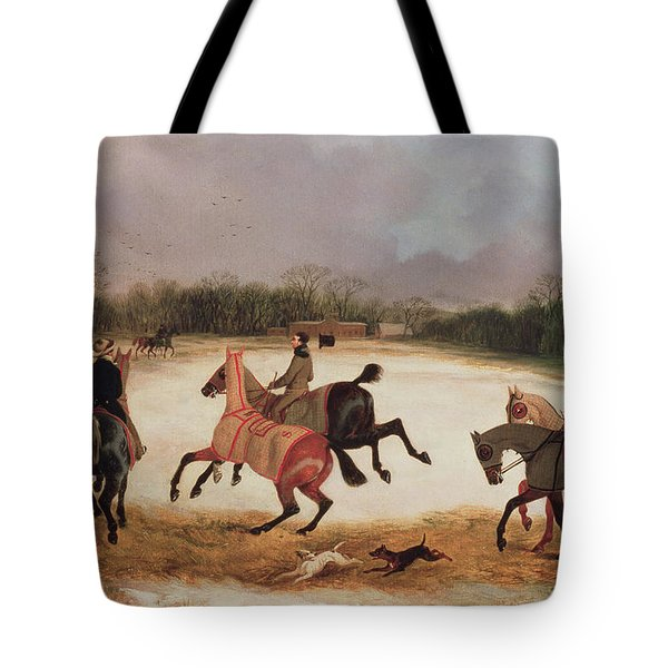 Grooms Exercising Racehorses  Tote Bag by David of York Dalby