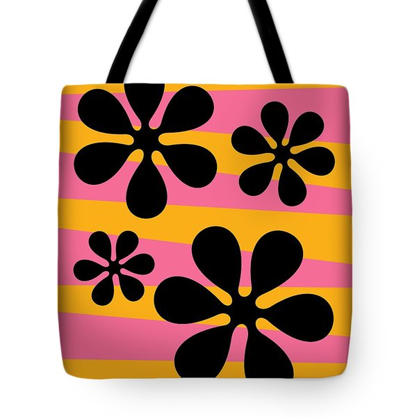 Tote Bag featuring the digital art Groovy Flowers I by Donna Mibus