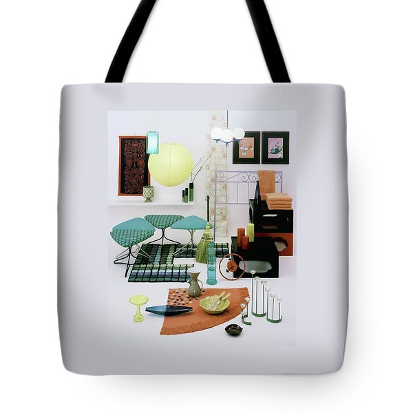 Group Of Furniture And Decorations In 1960 Colors Tote Bag
