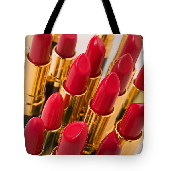 Group Of Red Lipsticks Tote Bag by Garry Gay