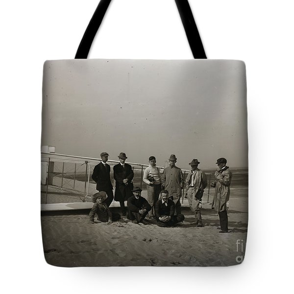 The Wright Brothers Group Portrait In Front Of Glider At Kill Devil Hill Tote Bag by R Muirhead Art