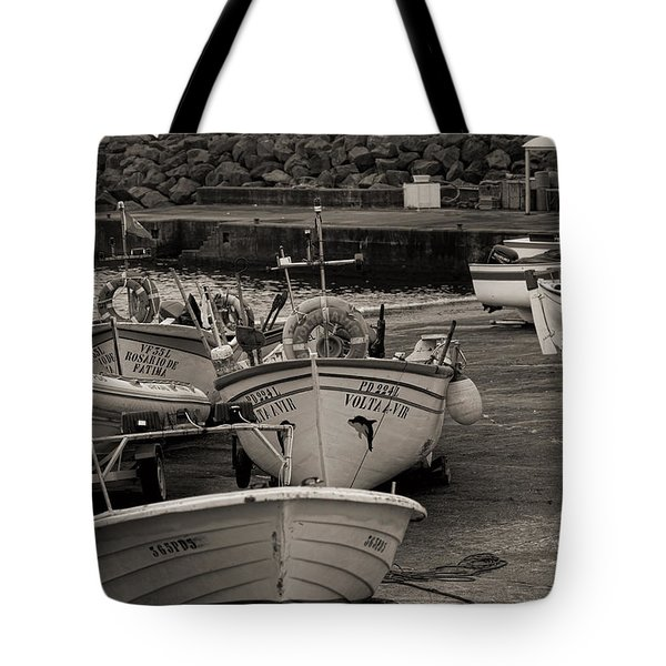 Groups Of Fishing Boats With Life Preservers Docked  Tote Bag