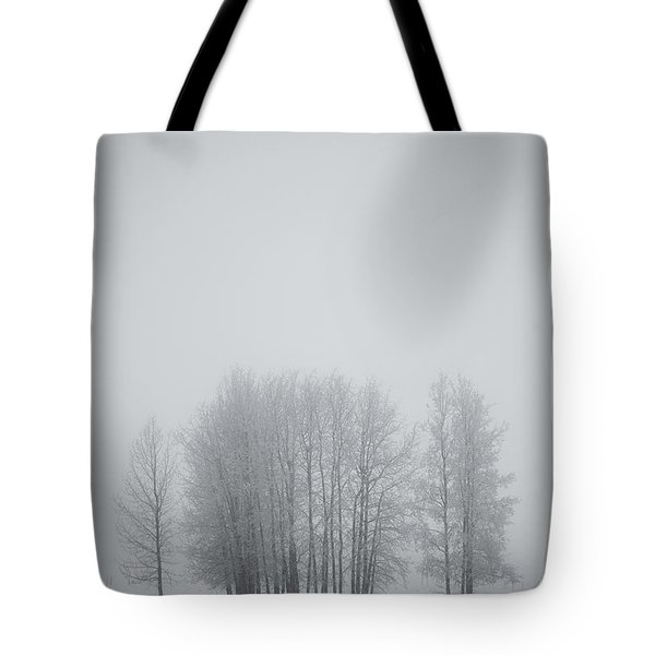 Grove Of Trees Covered In Hoar Frost On Tote Bag by Roberta Murray